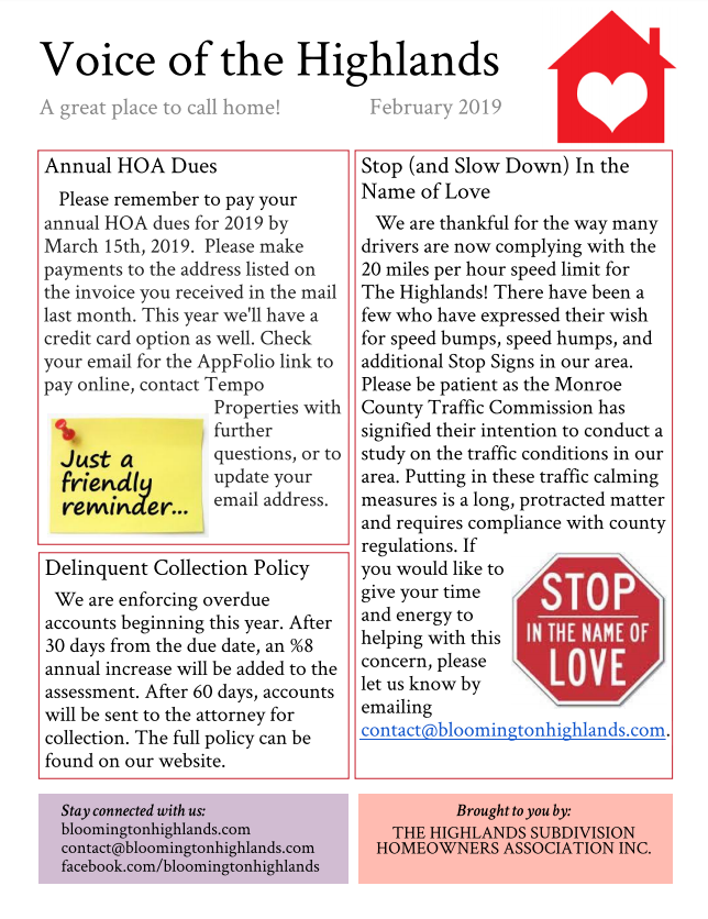Newsletters – Highlands Subdivision HOA – Official Website