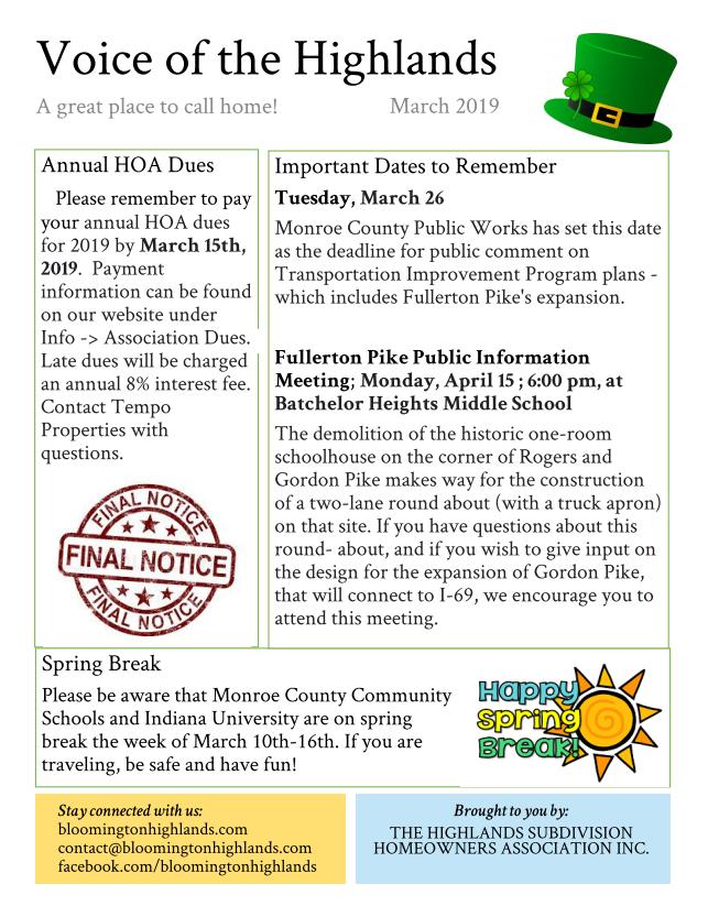 2019 March newsletter screenshot